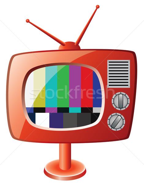 вектора красный ретро телевизор телевидение дизайна Сток-фото © freesoulproduction