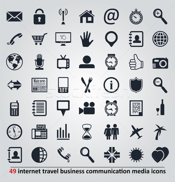 Stock photo: vector icons for internet, travel, business, communication and m