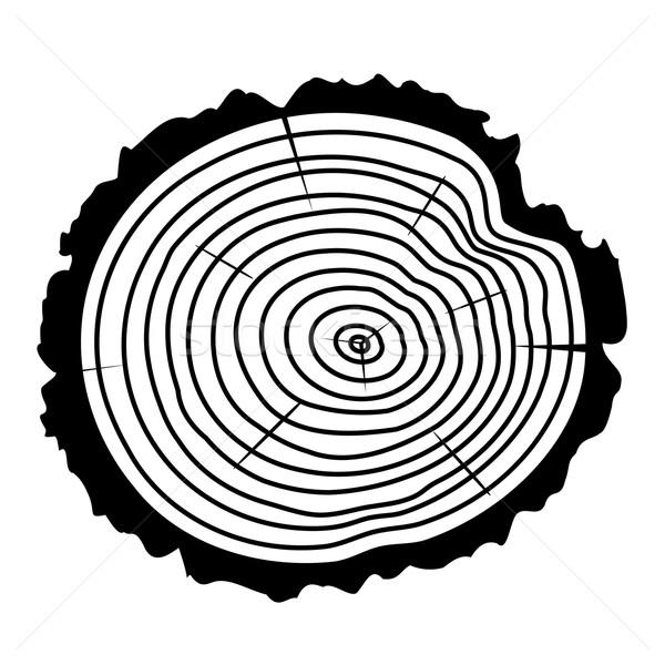 Vektör ahşap kesmek ağaç siyah beyaz ortak merkezli Stok fotoğraf © freesoulproduction