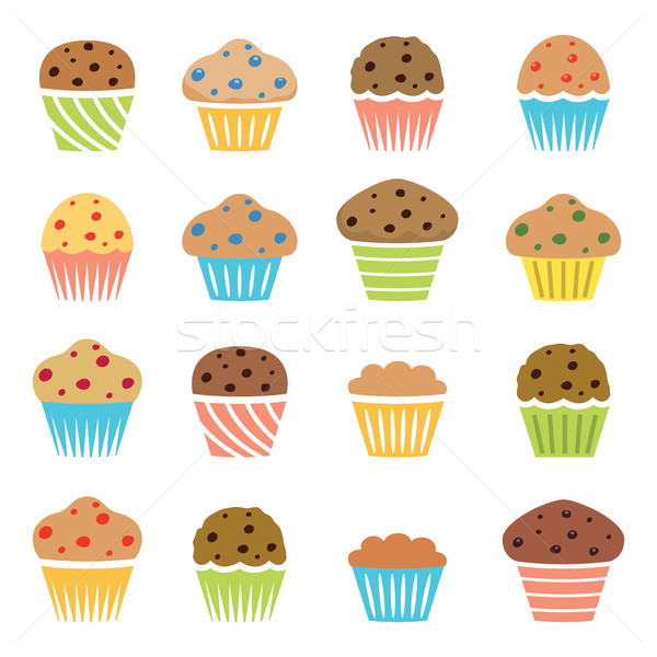 Vector iconen chocolade vruchten muffins eigengemaakt Stockfoto © freesoulproduction