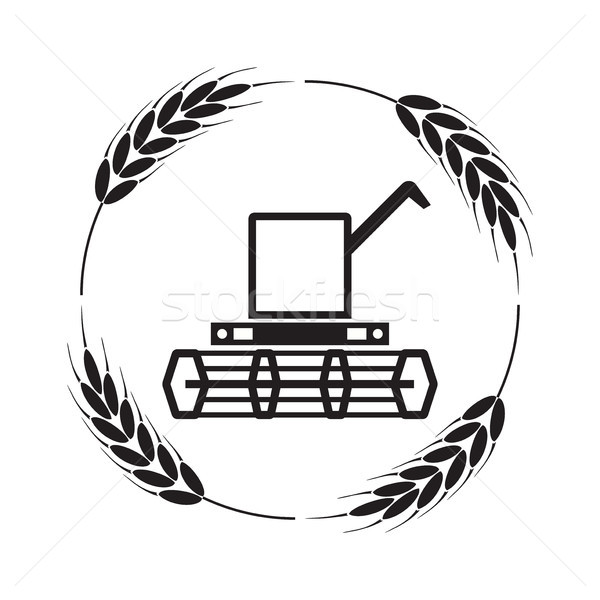 vector icon of combine harvester and wheat ears Stock photo © freesoulproduction