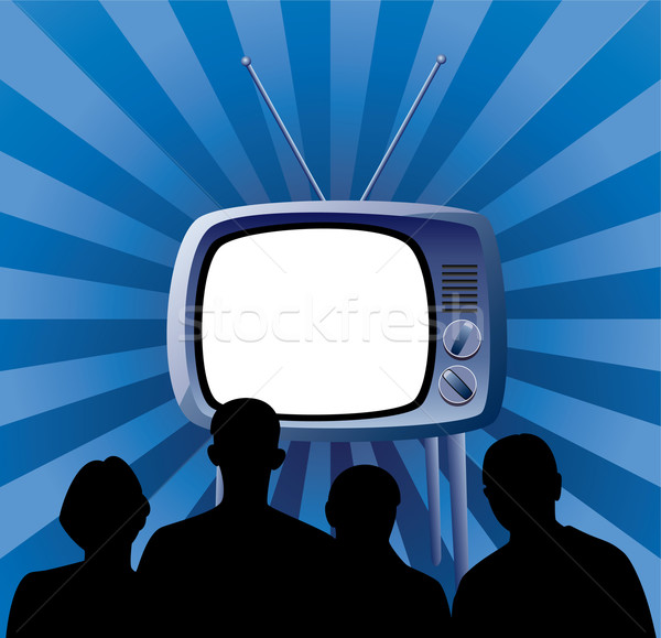 vector family watching retro tv set Stock photo © freesoulproduction