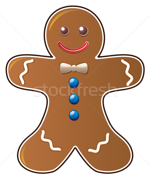 Foto stock: Vector · pan · de · jengibre · cookie · sonrisa · cara · amor