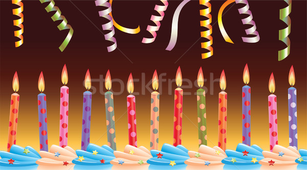 vector birthday candles on cake and streamers Stock photo © freesoulproduction