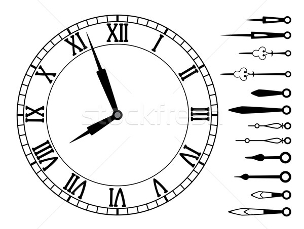 vector clock and set of hands Stock photo © freesoulproduction