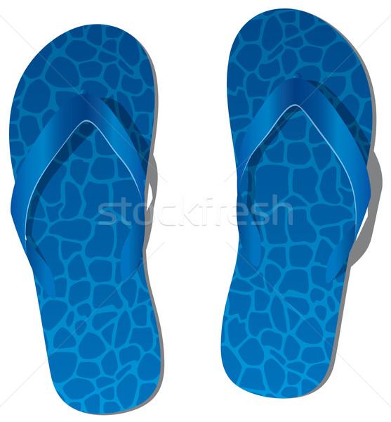 Vektor pár kék papucs divat nap Stock fotó © freesoulproduction