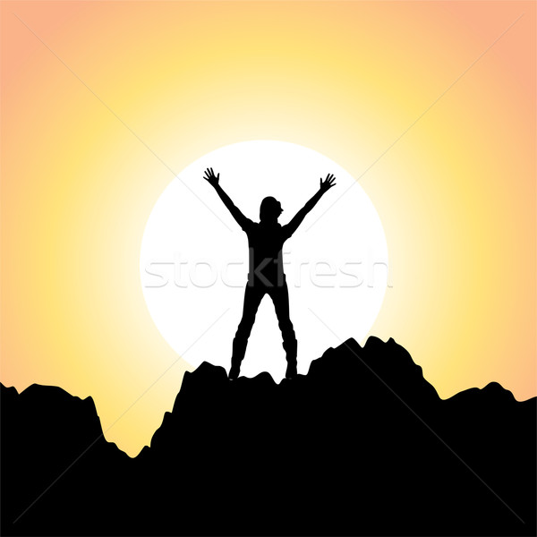 vector silhouette of a girl with raised hands  Stock photo © freesoulproduction