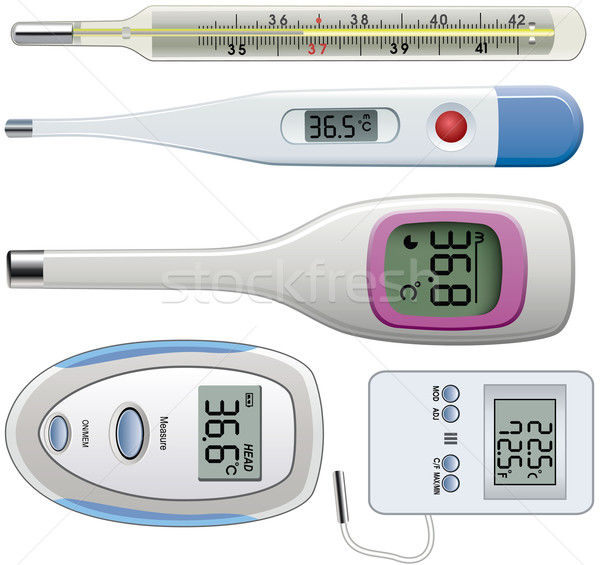 vector set of thermometers of different types Stock photo © freesoulproduction