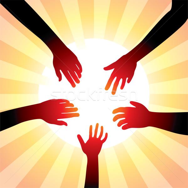 Vektor barátságos kezek körül nap kéz Stock fotó © freesoulproduction