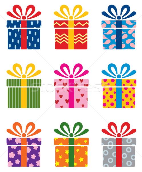 Foto stock: Vetor · conjunto · colorido · caixa · de · presente · símbolos · feliz