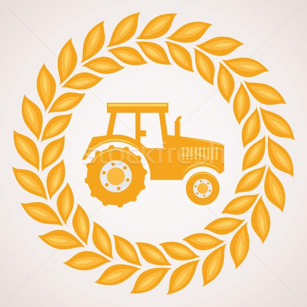 ベクトル デザイン 小麦 国境 シンボル トラクター ストックフォト © freesoulproduction