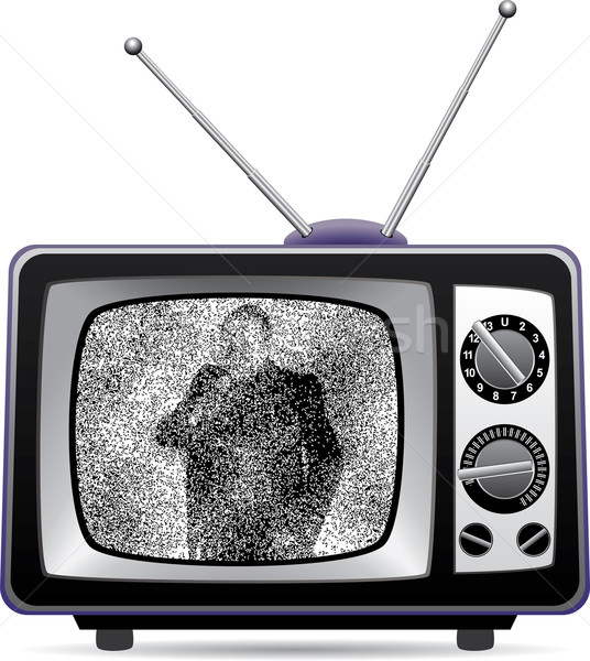 retro tv set with static on a screen Stock photo © freesoulproduction