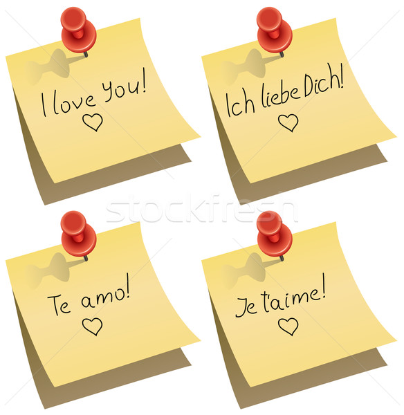 vector paper notes with push pin and I love you words  Stock photo © freesoulproduction