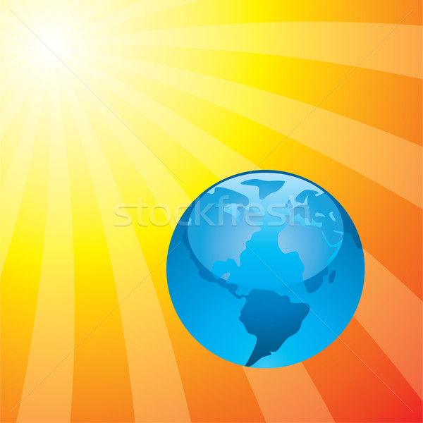 vector earth and the rising sun Stock photo © freesoulproduction