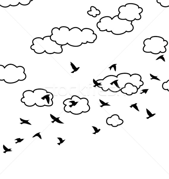 vector  flock of flying birds and clouds in the sky  Stock photo © freesoulproduction