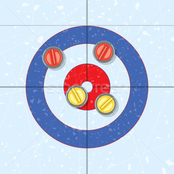 vector red and yellow curling stones  Stock photo © freesoulproduction