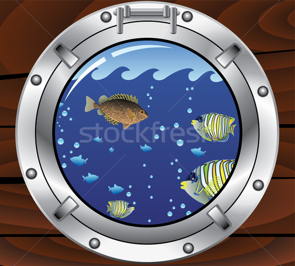porthole and colorful tropical fishes Stock photo © freesoulproduction