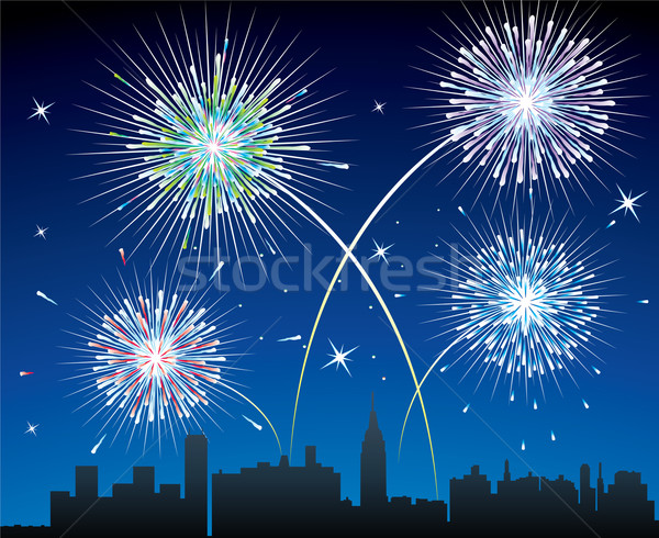 Stock photo: fireworks over a city
