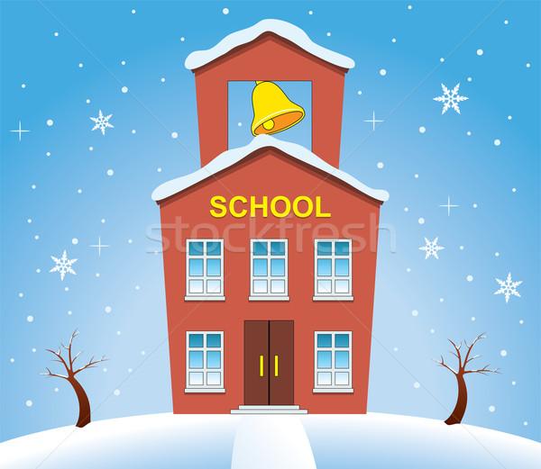 Stok fotoğraf: Vektör · ülke · okul · ev · kış · gökyüzü