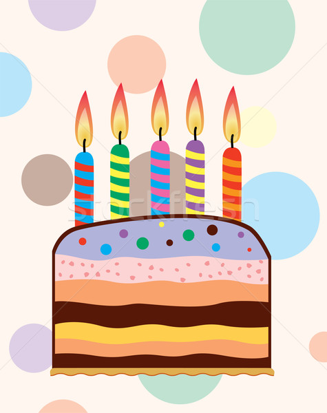 Stock photo: vector birthday cake with candles