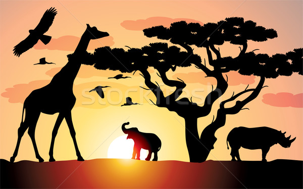 Vector girafă rinocer elefant Africa copac Imagine de stoc © freesoulproduction