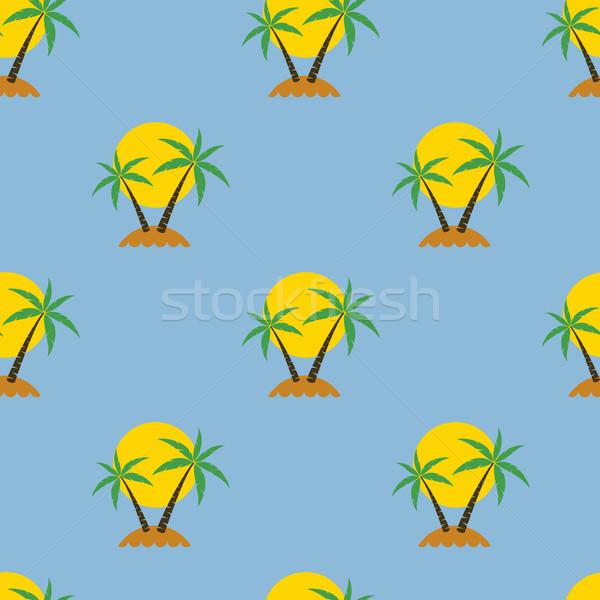 Stock fotó: Vektor · végtelenített · pálmafa · utazás · tengerpart · fa