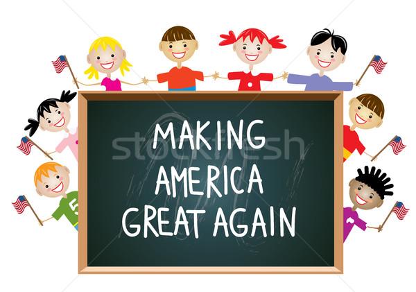 ベクトル 子供 アメリカン 愛国的な 教育 ストックフォト © freesoulproduction