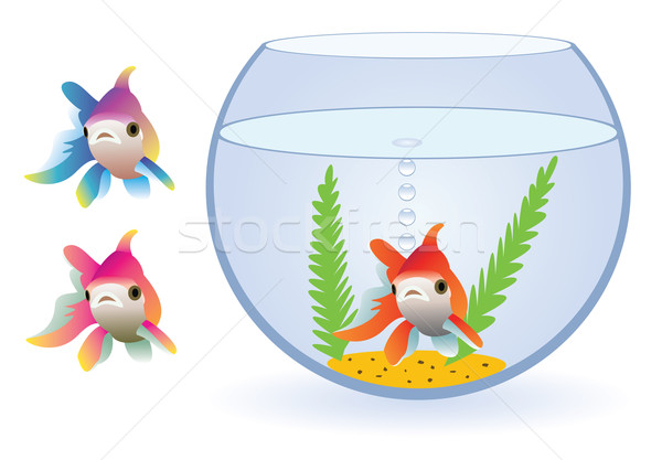Aquarium drei Fische Vektor Sand schwarz Stock foto © freesoulproduction