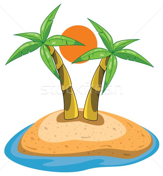 Foto stock: Vetor · palms · ilha · árvore · mar