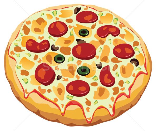 Vetor italiano pizza branco comida restaurante Foto stock © freesoulproduction