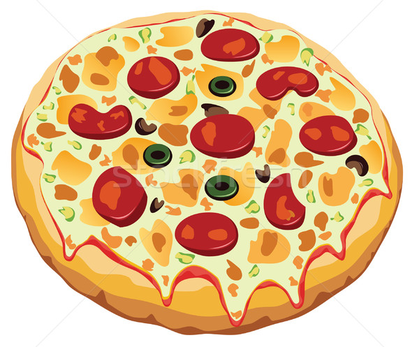 Vektör İtalyan pizza beyaz gıda restoran Stok fotoğraf © freesoulproduction