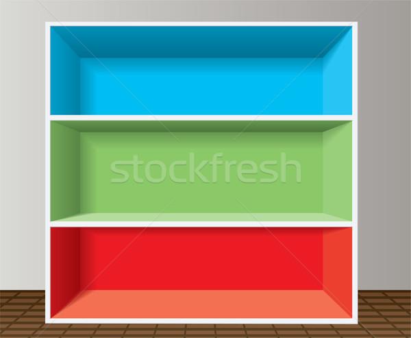Vetor colorido vazio prateleira de livros projeto espaço Foto stock © freesoulproduction