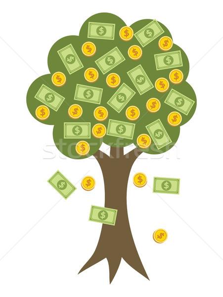 Foto stock: Vetor · dourado · moedas · frutas · dólares