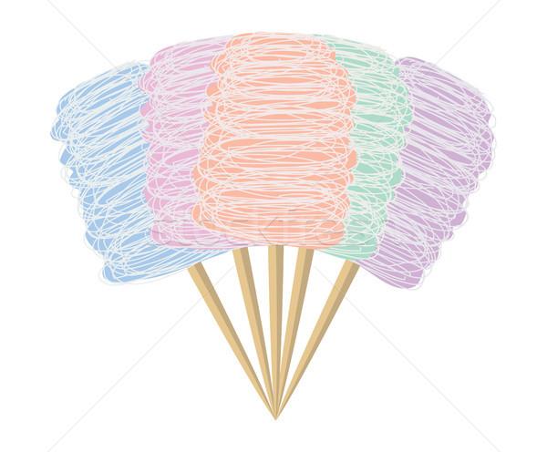 Vektör renkli şeker pamuk ayarlamak yalıtılmış Stok fotoğraf © freesoulproduction