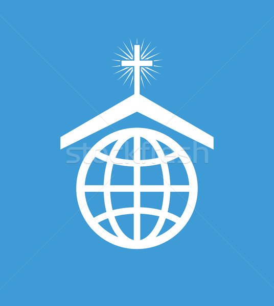 Vektor Symbol Symbol christian Kirche weltweit Stock foto © freesoulproduction