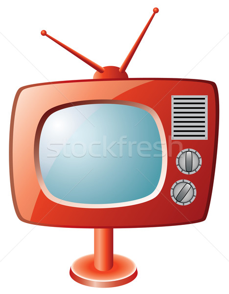 ストックフォト: ベクトル · 赤 · レトロな · テレビ · テレビ · デザイン
