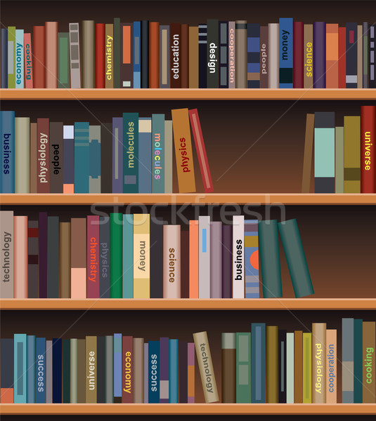 vector wooden bookshelf  Stock photo © freesoulproduction