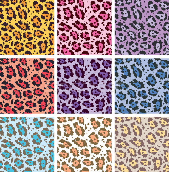 Stock photo: vector colorful animal skin textures of leopard