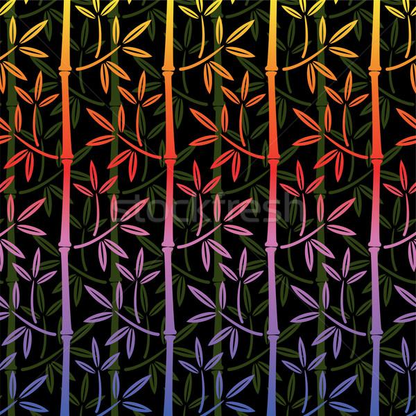 Zdjęcia stock: Wektora · kolorowy · bambusa · tapety · bezszwowy · drzewo