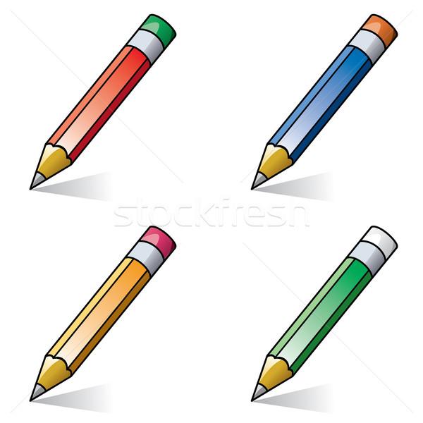 Vettore clipart matite legno scuola luce Foto d'archivio © freesoulproduction