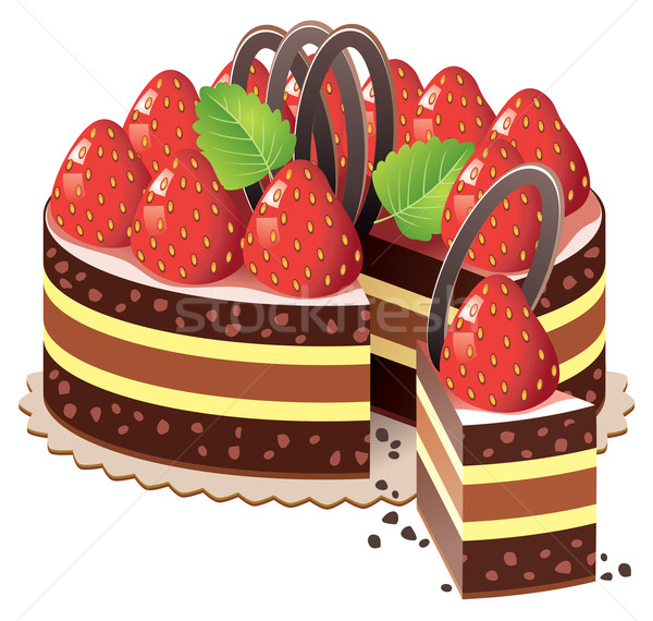 vector cake with strawberry  Stock photo © freesoulproduction