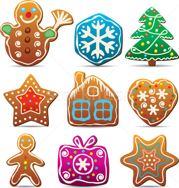 nine gingerbread cookies Stock photo © freesoulproduction