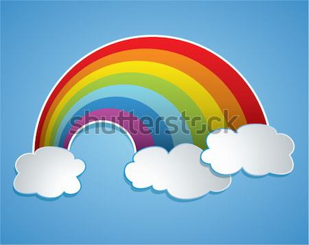 Vecteur Rainbow nuages ciel symbole eau Photo stock © freesoulproduction