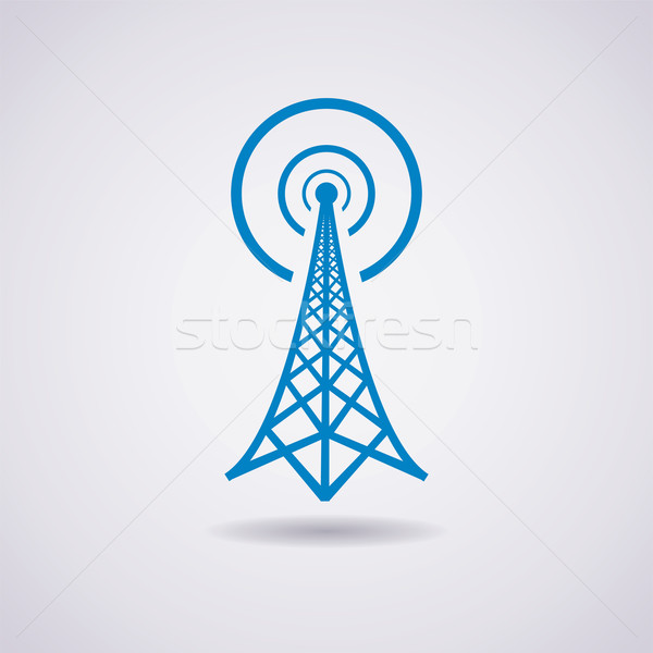 vector design of radio tower broadcast icon Stock photo © freesoulproduction
