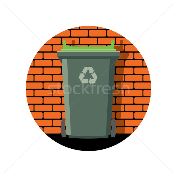 vector icon of recycling wheelie bin against the brick wall Stock photo © freesoulproduction