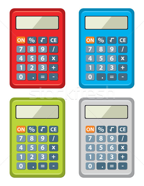 Vector ingesteld calculator iconen geïsoleerd witte Stockfoto © freesoulproduction