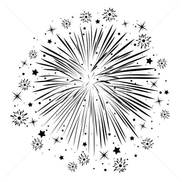 vector black and white abstract anniversary bursting fireworks Stock photo © freesoulproduction