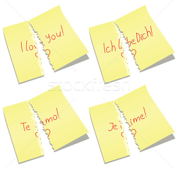 vector torn paper notes with I love you words Stock photo © freesoulproduction
