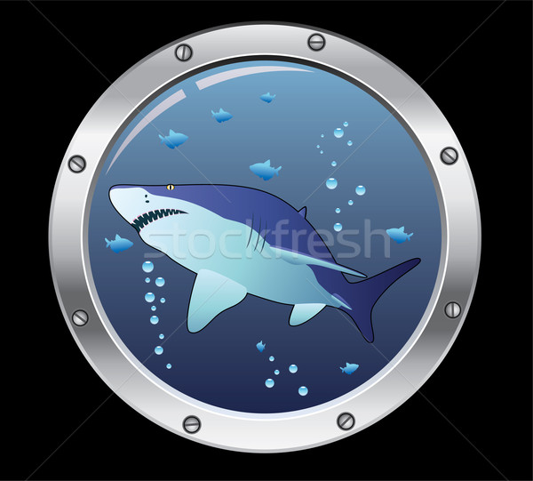 Stock photo: vector porthole and a shark