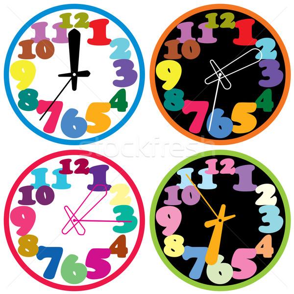 вектора набор красочный часы служба счастливым Сток-фото © freesoulproduction